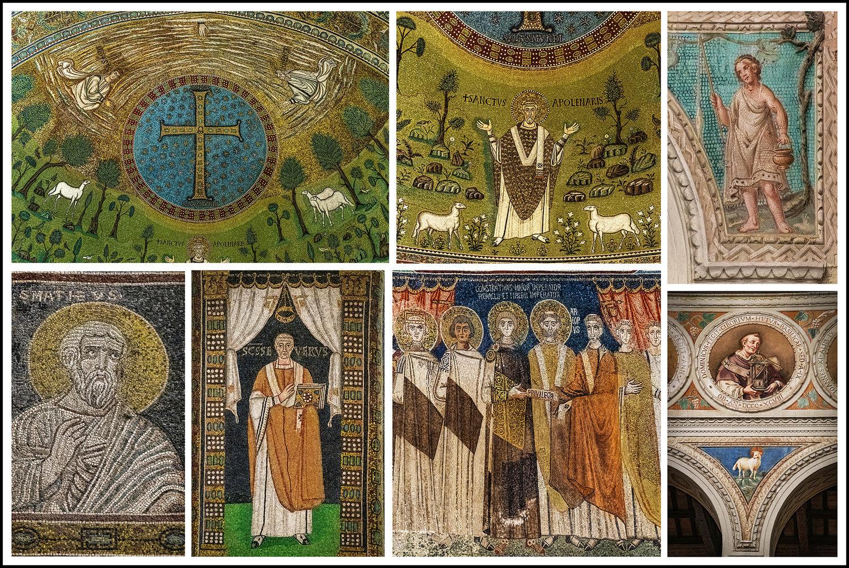 04-...da Sin A Dx E Dall\'alto Al Basso...1 E 2 Dettagli Abside, 3,4,5,6,7 Mosaici Vari Apollinare In Classe Ravenna